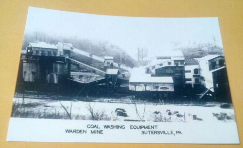 Old Sutersville PA. Warren Mine, Coal Washing Equipment Rare Image Postcard Repo