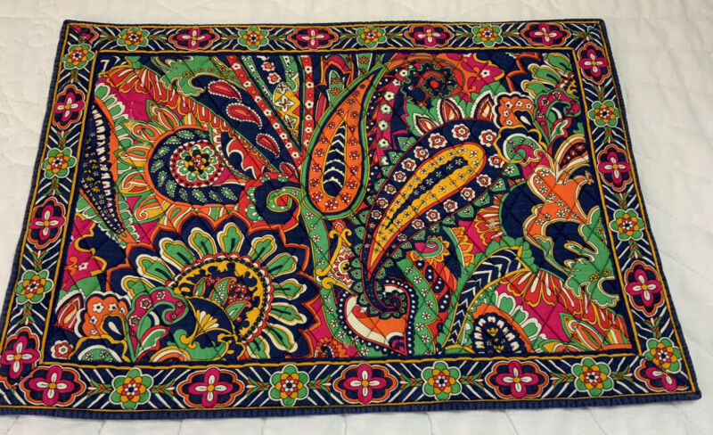 Vera Bradley Quilted Placemat, Paisley, Flower & Leaf Design, Navy, Green