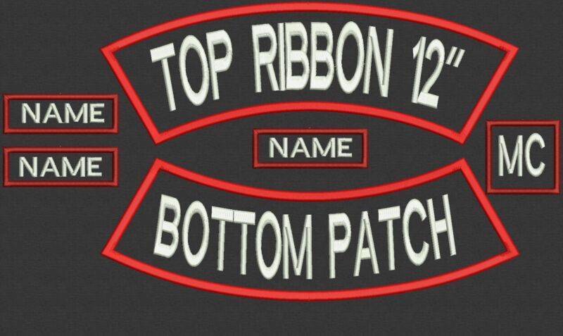 """6 Pieces Custom Embroidered Rocker Name Patch Set Biker Motorcycle Tag Badge 12"""""""