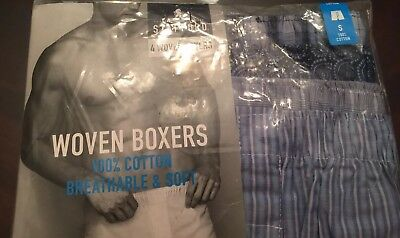 NWT - 4 Woven Boxers Cotton Stafford Men's Underwear Small 28-30 Pattern