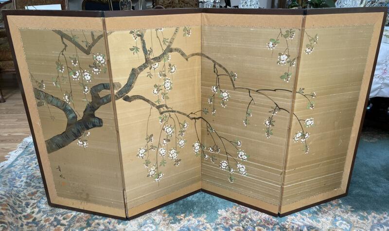 Asian Silk Screen Gold W/ Cherry Blossoms