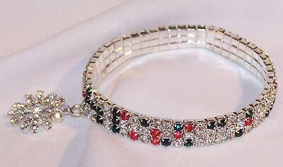 Prong Set Rhinestone Bracelet (Rhinestone CHRISTMAS Snowflake Charm Bracelet-Stretch Style-Prong Set)