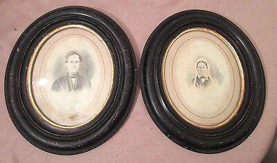 antique 1800's original watercolor black & white portrait man woman painting  Black White Portraits Women