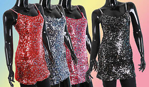 New-Ladies-Sequin-Evening-Party-Mini-Dress-Top-Tunic-Sizes-8-10-12-Tops-1686C