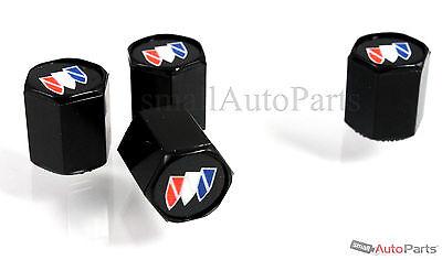 (4) Buick Logo Black ABS Tire/Wheel Stem Air Valve CAPS Covers set