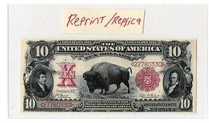 Novelty-10-Bison-Note-US-Paper-Money-Reprint-Replica