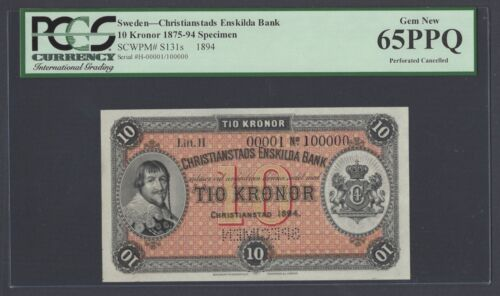 Sweden Christianstads Enskilda Bank 10 kronor 1875 PS131s Litt H Specimen UNC