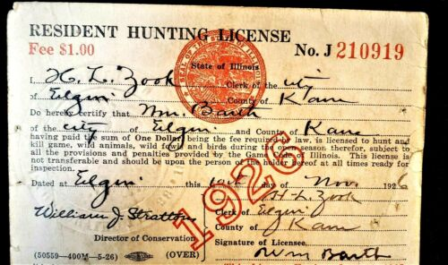 Vintage 1926, State of Illinois Hunting License