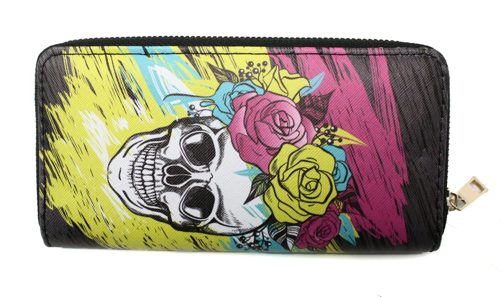 "Sugar Skull & Roses Wallet Clutch - 3 Sections, Zipper - 7""x"