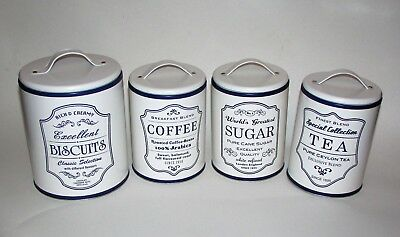 New Set of 4  Storage Tin Coffee Canister Jar Vintage Inspired Ivory Off White