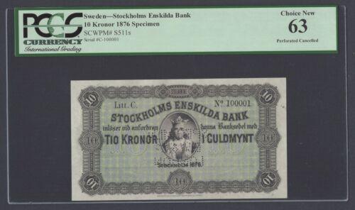 Sweden Stockholms Enskilda Bank 10 kronor 1876 PS511s Litt C Specimen UNC