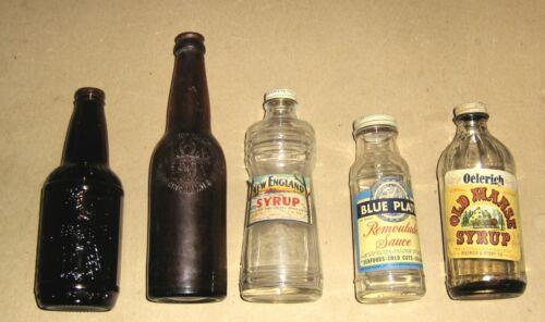 Lot 5 Vintage Bottles,Old Manse Syrup,Blue Plate Remoulade Sauce,New England