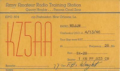 OLD VINTAGE KZ5AA ARMY AMATEUR RADIO TRAINING STATION PANAMA QSL CARD