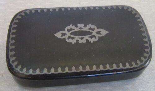 Victorian antique 19C black lacquerware PAPER MACHE SILVER INLAY SNUFF BOX
