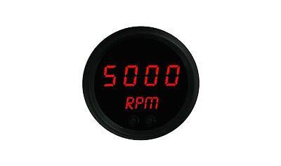 "2 1/16"" Red Digital LED TACHOMETER Minitach RPM Activated Switch Black Bezel"