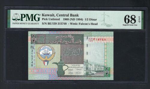 Kuwait 1/2 Dinar L1968 (1980-91) Pick Unlisted Uncirculated Grade 68