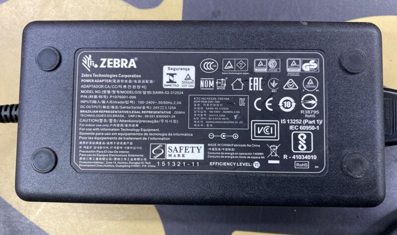 OEM Zebra SAWA-52-312524 P1076001-006 AC Adapter Power Supply 24V 3.12A NEW