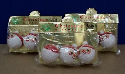 Golf Ball Ornaments (Vintage Frankel Golf Ball Santa Christmas Ornaments 70s Lot of 3 pkg NOS)