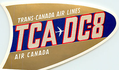 Trans Canada Airline   Tca  Dc 8 Aircraft  Great Old Luggage Label  1960