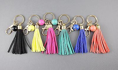 Beaded Keychain (Faux Suede keychain tassels beaded Key Ring Chain tassel purse bag handbag)