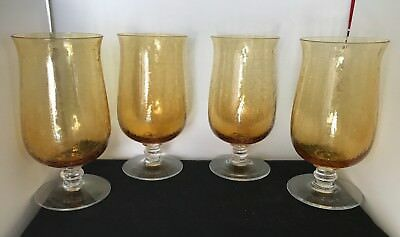 "VINTAGE SET OF 4 AMBER COLORED CRACKLE GLASS GOBLETS 7"" TALL"