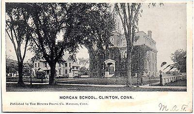 Postcard CT Clinton Morgan School UDB A1
