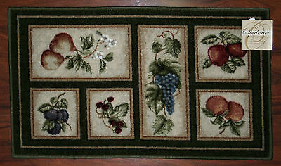 20X34 Kitchen Rug Mat Green Door Washable Accent Fruit Grapes Pears Apples Peach