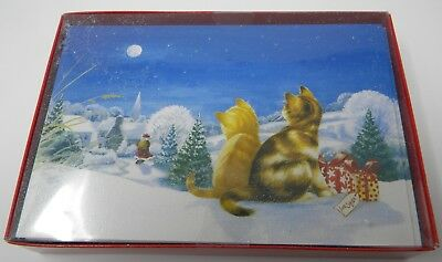 Box  Dogs and Cats Watching Santa Bring Gifts Christmas Cards Glitter 18  cards