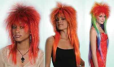 80S 90S ADULT EMO ELVIRA LONG SPIKE SPIKY PUNK ROCK POP STAR COSTUME WIG BOWIE ](Elvira Wig)