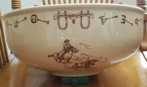 "Rare Tepco Western Traveler Branding Iron 13"" Salad Bowl in Wonderful Condition!"
