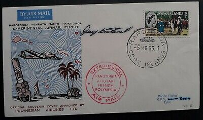 1966 Cook Islands Polynesian Airlines Experimental Airmail Cover ties 1/- stamp