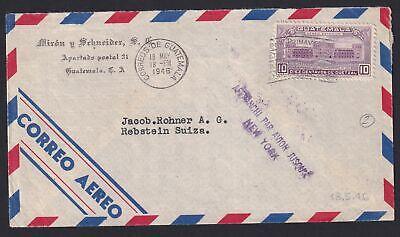 GUATEMALA 1946, Air Mail Cover to Switzerland, Rebstein, via New York