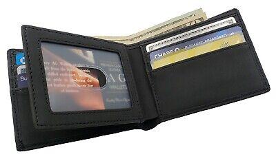 Mens Bifold Leather Center Flap Credit Card ID Holder Slim RFID Vegan (Leather Slim Flap)