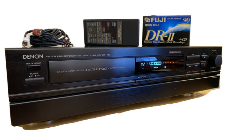 Rare Denon DRR-780 Horizontal Front Loading Cassette Deck. Tested with Remote