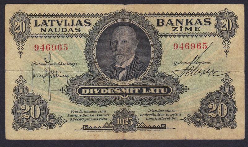 Latvia 20 Latu 1925, Series: 946965, Pick: 17, F