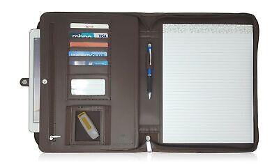 Lautus Designs Dark Brown Faux Leather Zippered Portfolio W8.5x11 Notepad