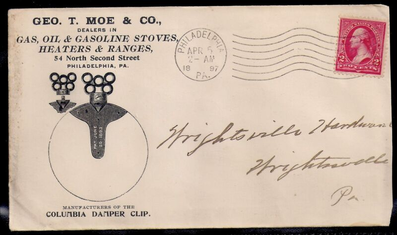 1897 Oil & Gasoline Stoves Ad Cover - Philadelphia to Wrightsville, Pennsylvania