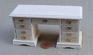Natural-Finish-1-12-Scale-Kneehole-Desk-Dolls-House-Miniature-Office-Furniture