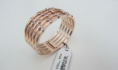 Guess Oval Bracelet (NEW GUESS Rose Gold-Tone Crystal Hinged Cuff Oval Bracelet Women Fashion Jewelry )