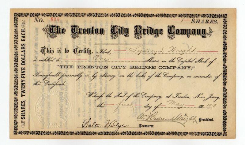 1913 Trenton City Bridge Company Stock Certificate