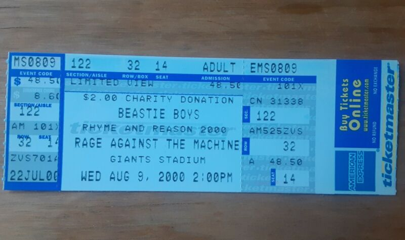Beastie Boys and Rage Against The Machine ticket from Giants Stadium 2000