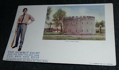 The Summit Shirt, Fort Snelling Advertising PostCard, St Paul Vintage Postcard