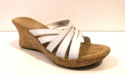 BASS:: White Leather :: Wedge Sandals :: Cork Heel  :: Cross Straps :: Sz 7