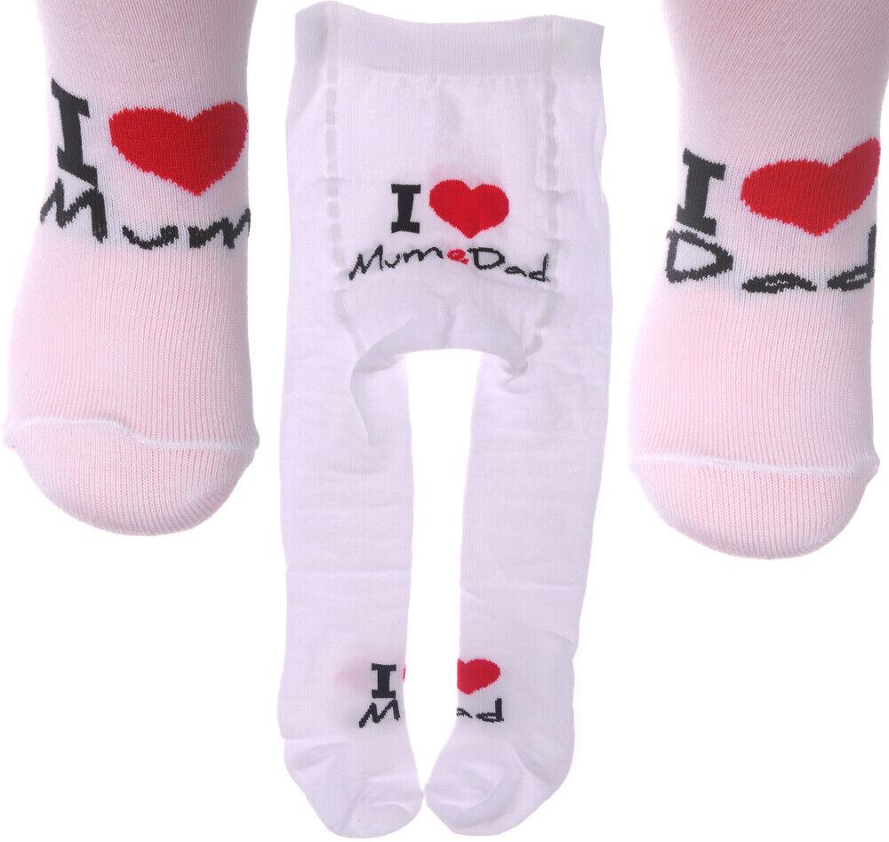 Baby Strumpfhose I Love Mum Dad 50 56 62 68 74 80 86 92 98 Weiß Papa Mama NEU