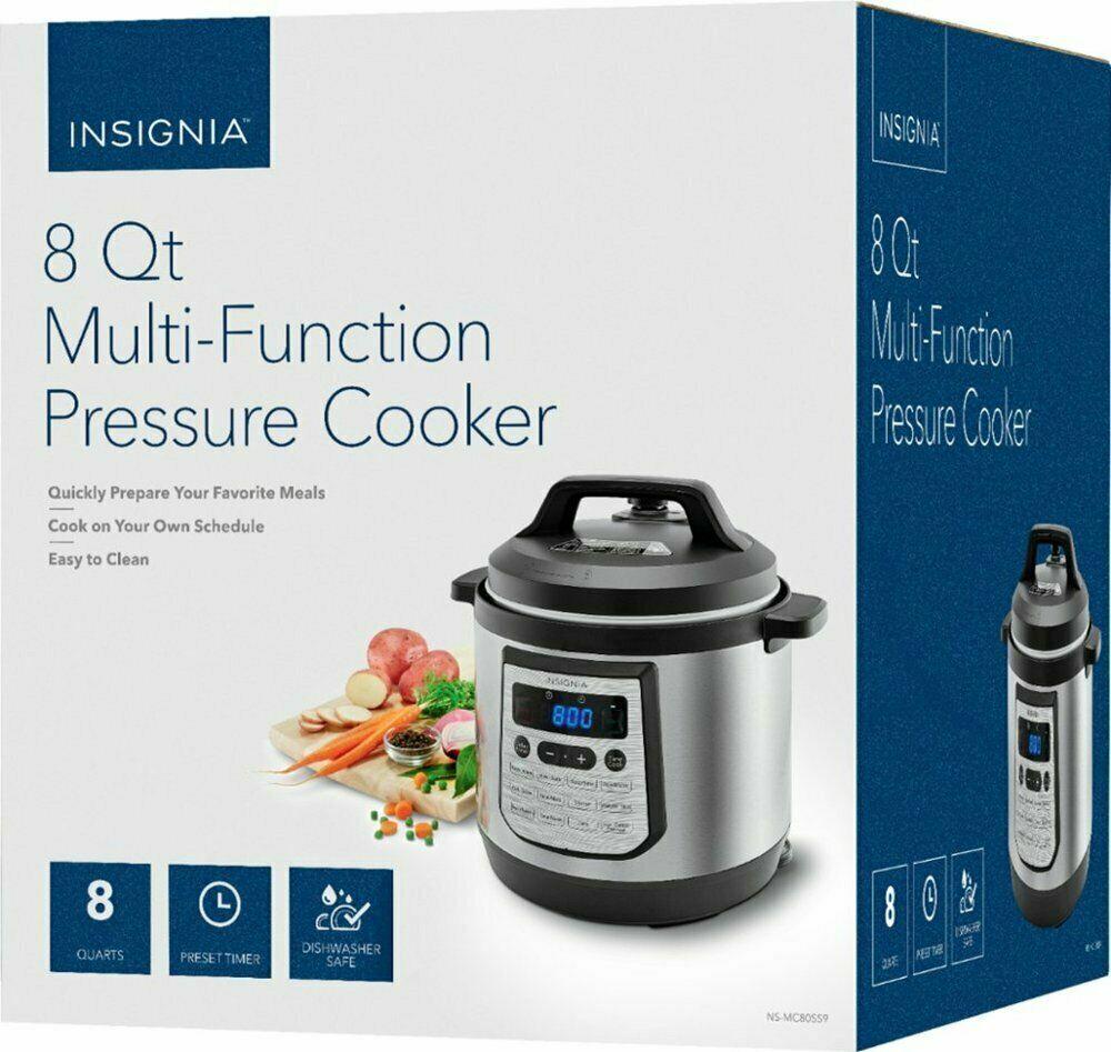 Insignia- 8-Quart Multi-Function Pressure Cooker - Stainless
