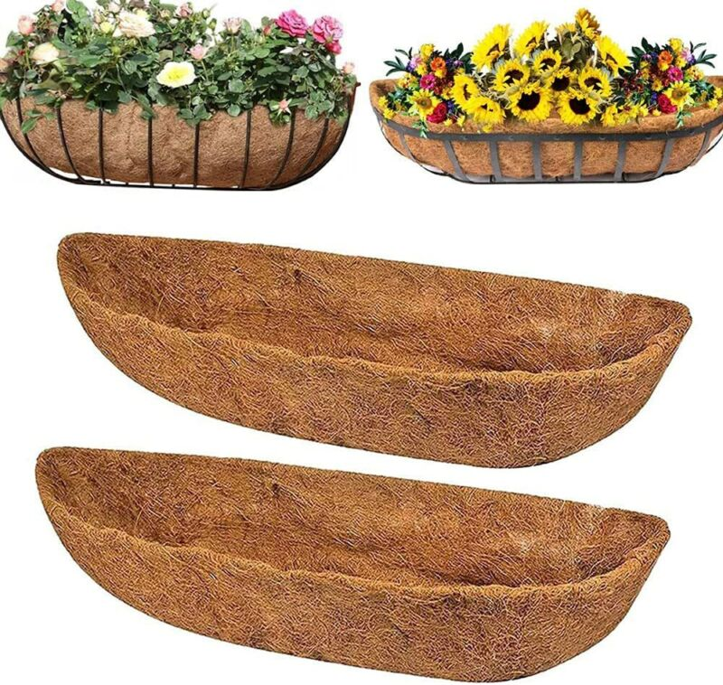 2Pc Trough Coco Liners 30 inch Replacement Coconut Fiber Liner Wall BSKT Planter