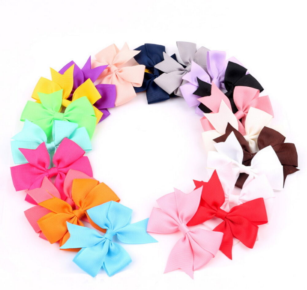 20pcs Hair Bow Boutique Girl Baby Grosgrain Ribbon Alligator Clips Lot Baby