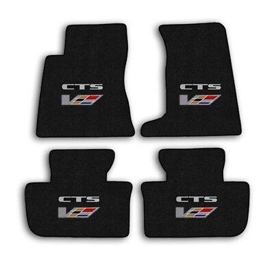 2009 Cadillac CTS-V Sedan - Ebony Classic Loop Carpet 4pc Floor Mats w Logo
