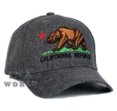 California Republic hat CA Bear Snapback Curved bill Baseball cap- Dark Gray