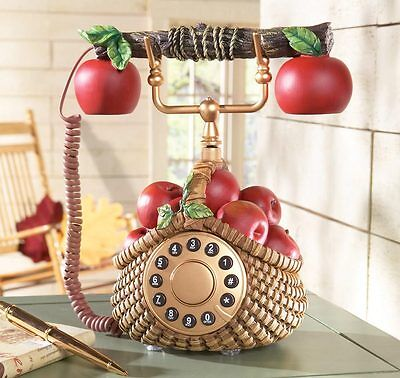 Apple decor basket phone kitchen telephone decor apples for Apple decoration kitchen